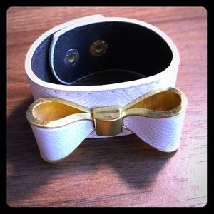 White Bow Bracelet with gold accent